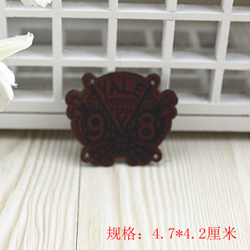 Embroidered real pu leather standard indentation diy handmade accessories handmade accessories sew trademark leather label