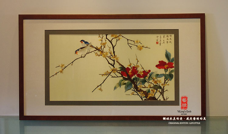Embroidery handmade silk embroidery art bird bird chinese paintings fine embroidery embroidery finished painting the living room decorative painting silk embroidery