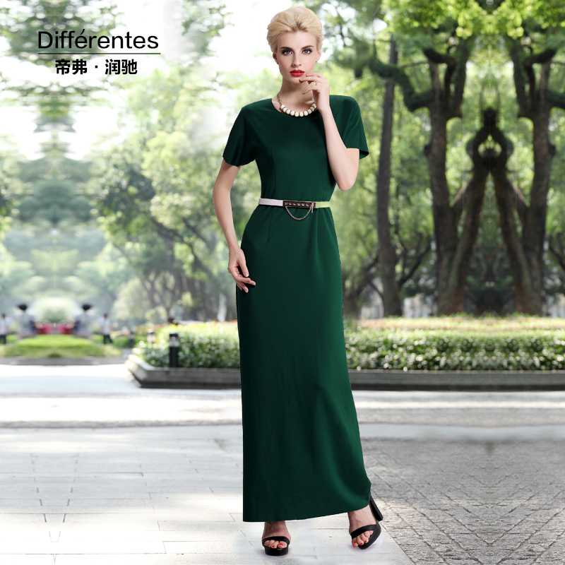 Get Quotations · Emperor frederick runchi 2016 autumn new round neck long  sleeve dress dark green long paragraph slim c56422410d09