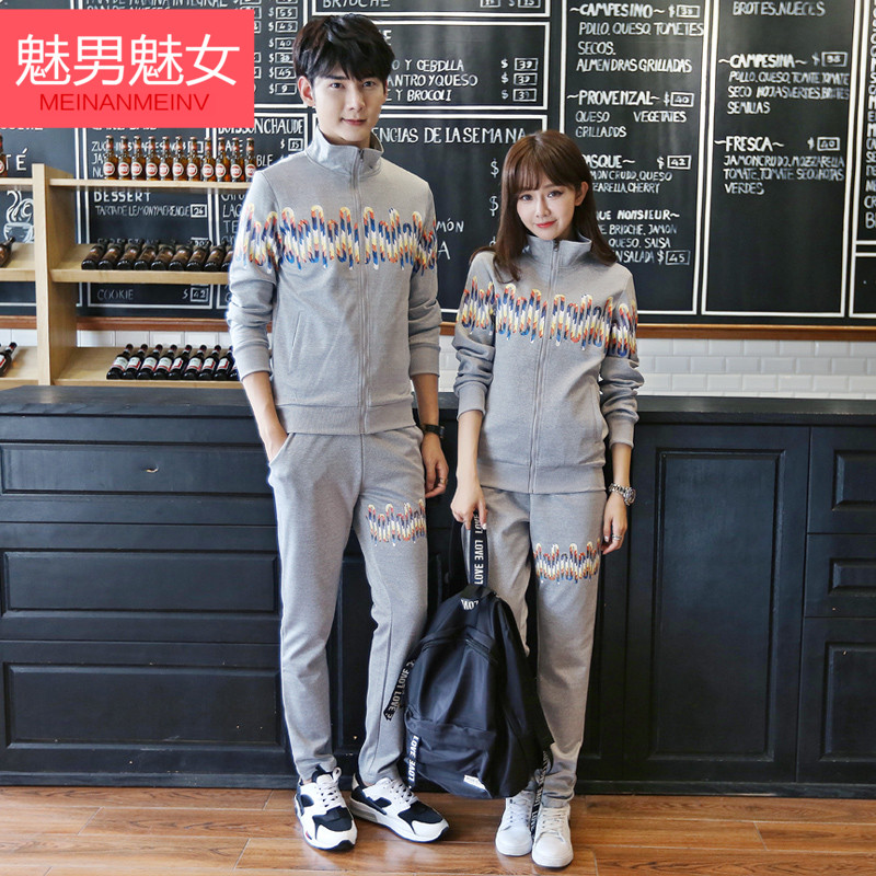 Enchantment enchantment male female lovers autumn 2016 new cardigan sports lovers sweater suit influx of male and female students hanbok