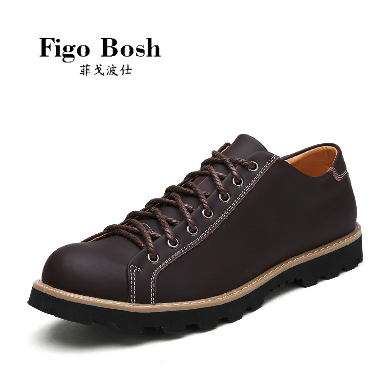 End custom brand figobosh autumn new british style men's round leather lace casual shoes