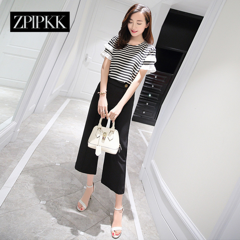 End custom zplpkk 2016 summer new suit round neck short sleeve casual fashion simple striped ladieswear