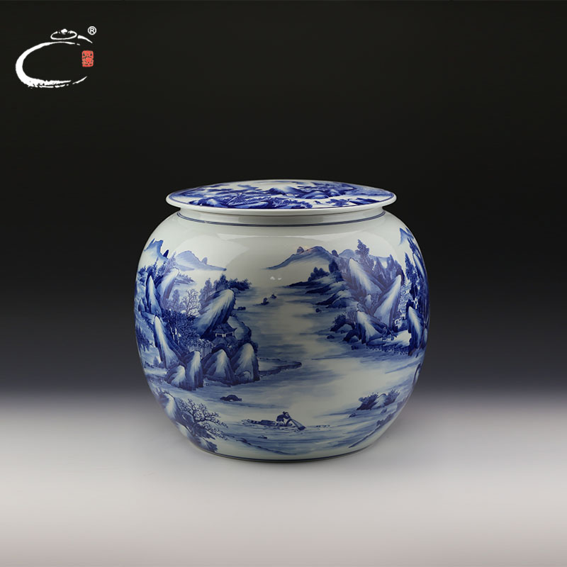 End of kangxi blue and white landscape round cans jingdezhen gui xiang painted ceramic tea caddy large boxes of tea canister