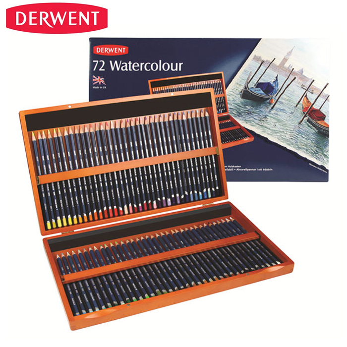 English derwent have rhyme expert soluble colored pencils/72 color 48 color soluble color of lead reddish brown wooden box