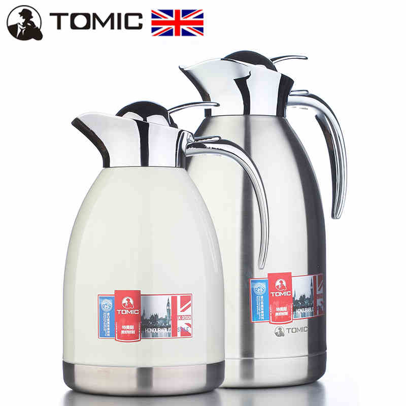 English tomic us special engraved double stainless steel thermos bottle home insulation pot fashion large capacity hot water bottle