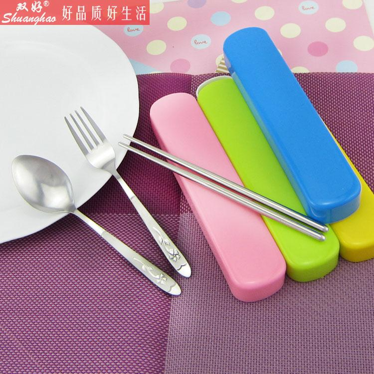 Environmental portable stainless steel tableware suit student travel cutlery box chopsticks spoon fork two sets of three sets
