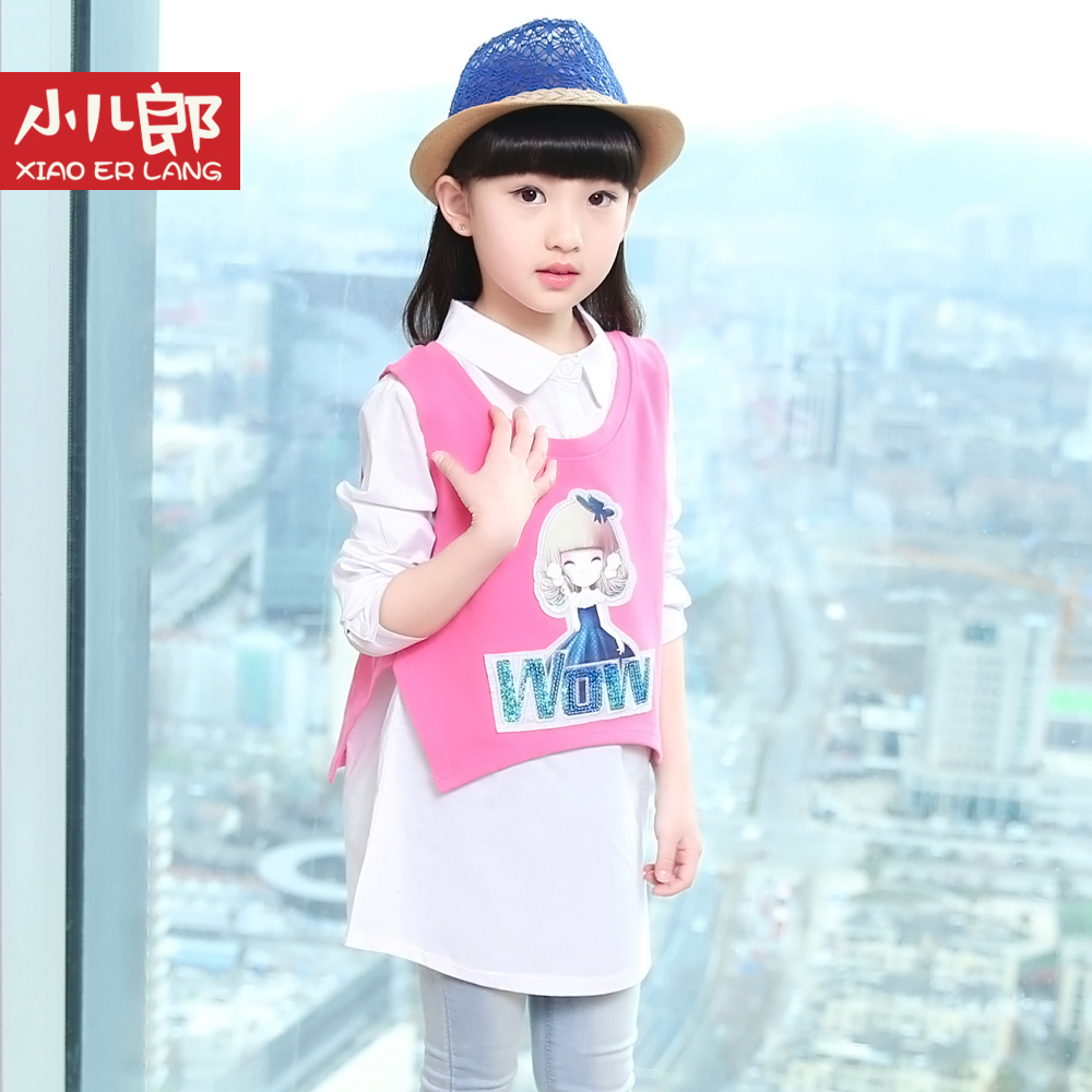 Erlang small children spring and autumn korean girls cartoon children's lapel pointed collar long sleeve cotton shirt bottoming shirt