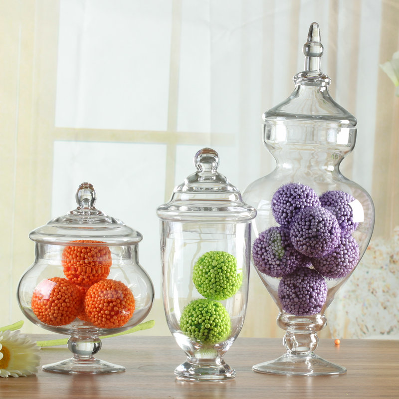 Euclidian off brunei transparent glass storage jar three sets of home decoration wedding candy jar glass jar with lid
