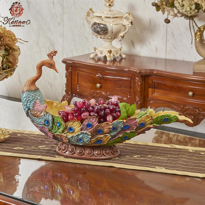å¡æå¨euclidian retro peacock fruit plate fashion creative living room coffee table ornaments home decorations ornaments
