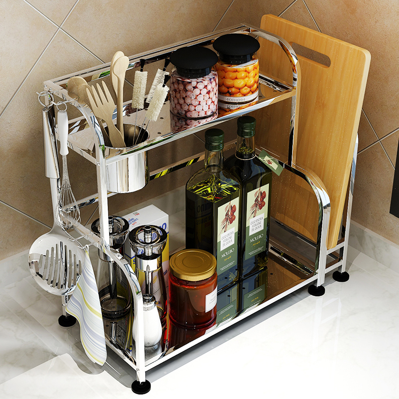 Get Quotations · Europa long stainless steel kitchen shelving storage rack turret seasoning rack 2 layer floor kitchen wall