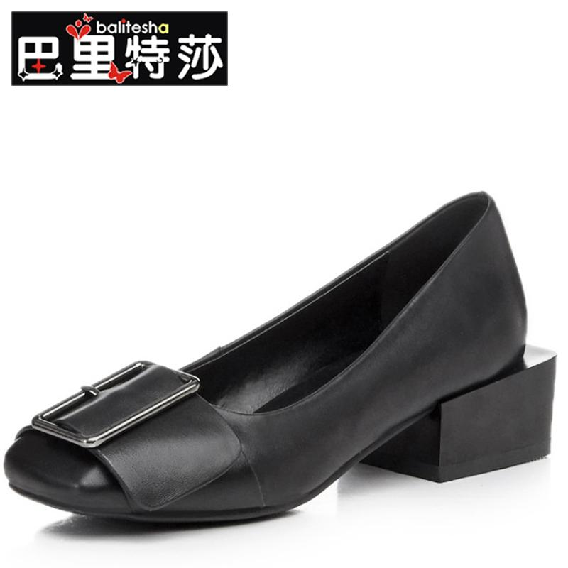 Europe and solid color ladies fashion leather square head low with square heel shoes leather buckle shoes to help low set foot leather shoes