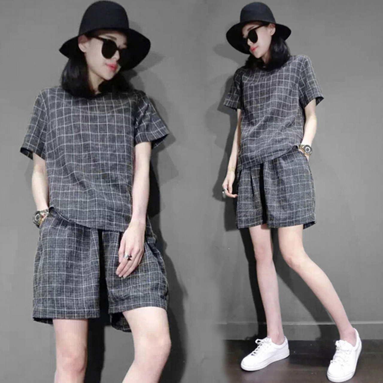 Europe station 2016 summer new women's fashion plaid houndstooth piece shorts leisure sports suit