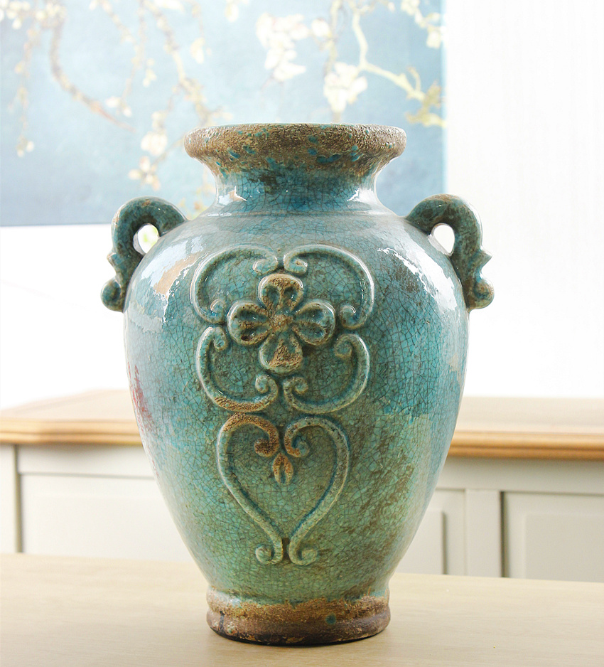 European american upscale modern blue crackle glaze ceramic flower vase home decorations living room furnishings pieces