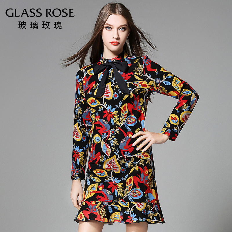 European and american big size women fat sister autumn dress 2016 new wave of printing plus fertilizer to increase fat mm shirt dress