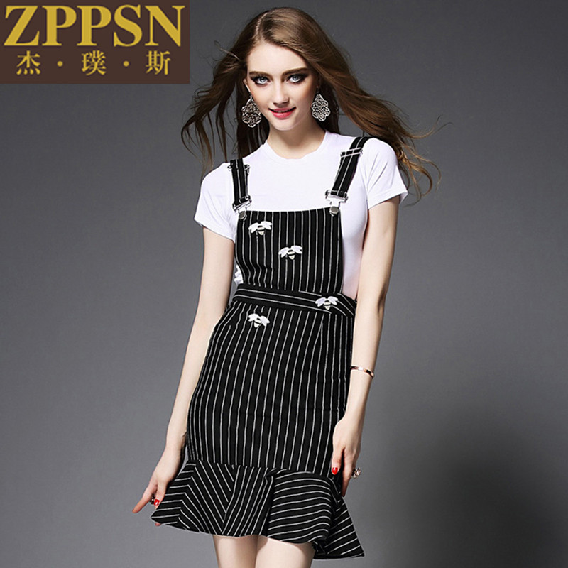 3cac35dd5e2e Get Quotations · European and american fashion piece zppsn female white t-shirt  shirt + striped suspenders jumpsuit
