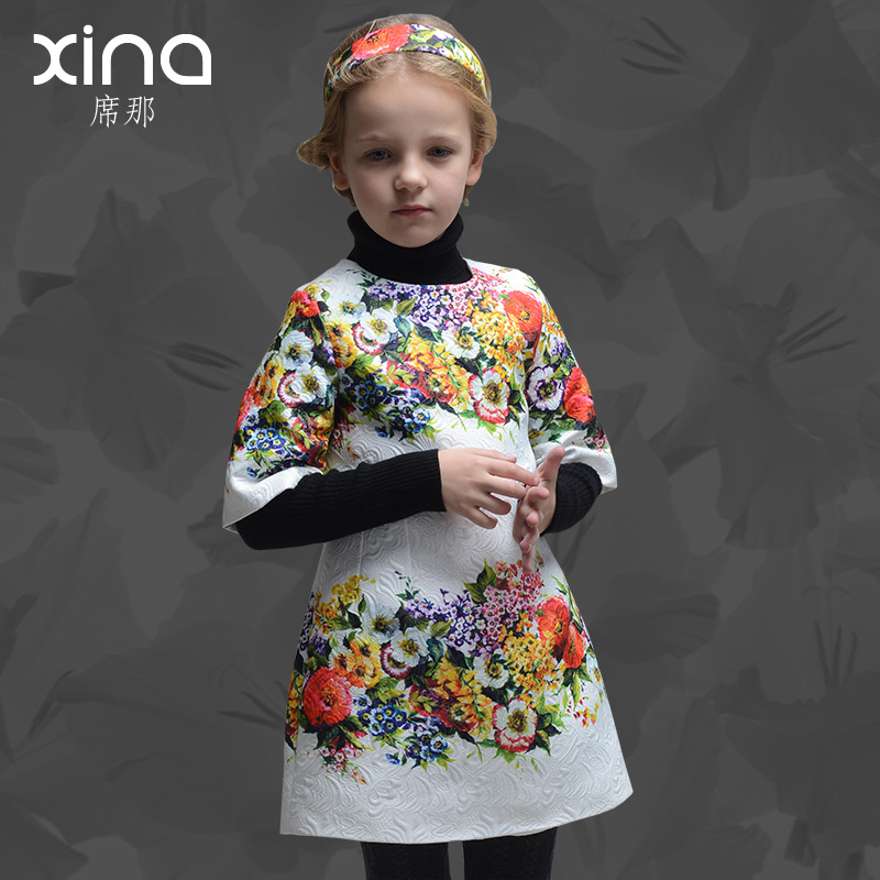 European and american high printing spring brand children's clothing girls dress children princess dress 2016 new spring dress