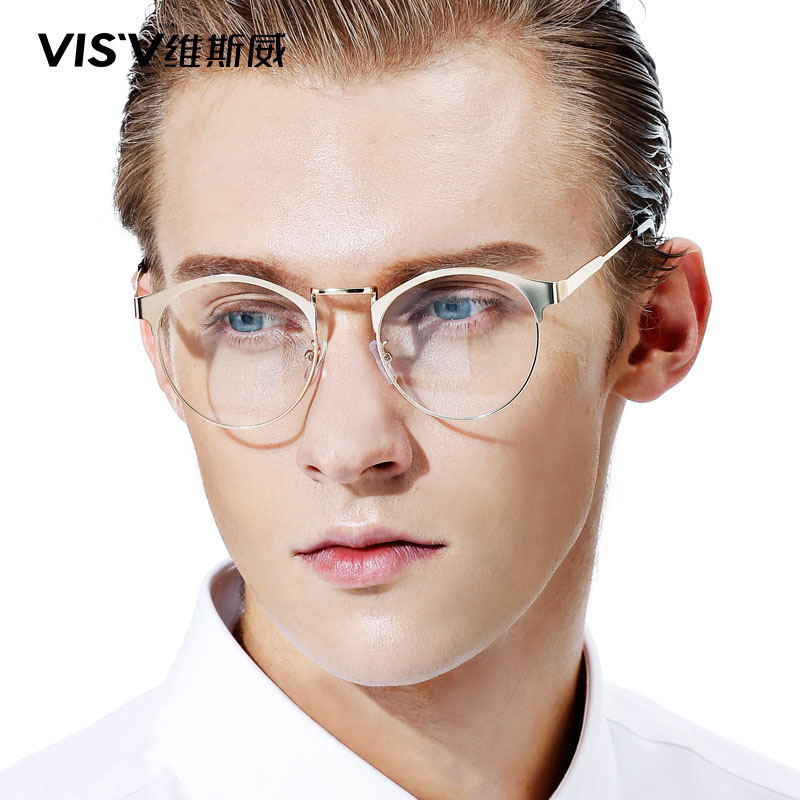 European and american retro glasses frame tide men's fashion art metal full frame memory ultralight round glasses frame female models