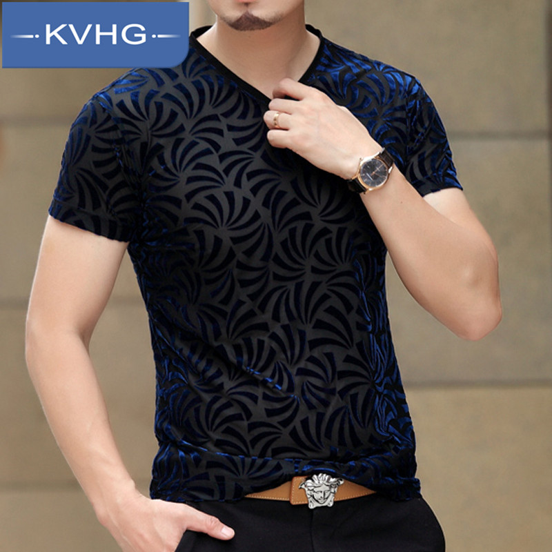 European and american style fashion kvhg middleaged free hot men's wild slim short sleeve v-neck t-shirt fashion business suits tide 5859