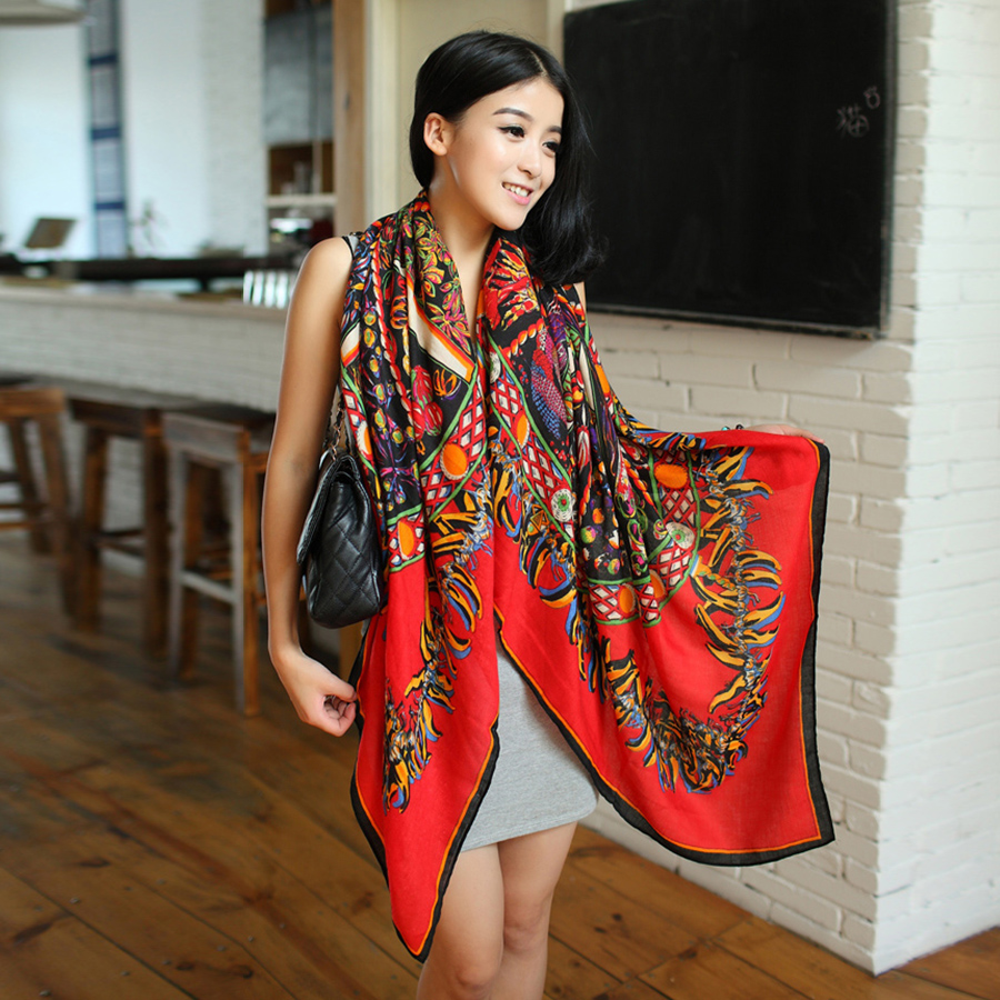 European and american style retro large square scarf air conditioning shawl scarf shawl dual female spring and autumn korea