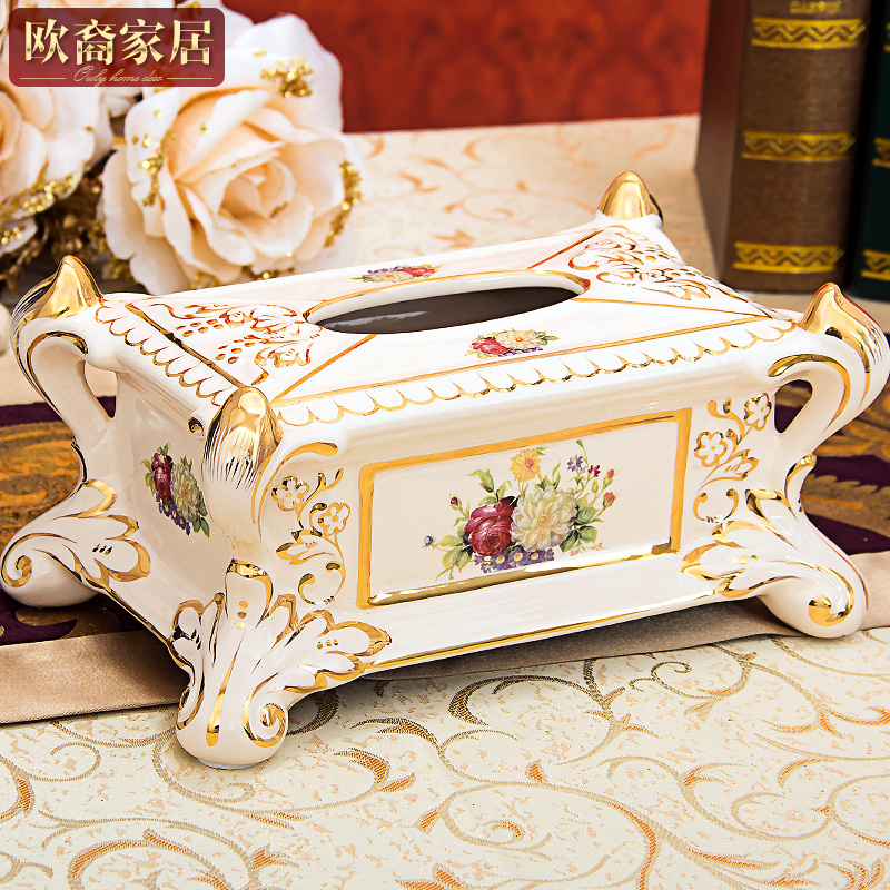European ceramic tissue box european luxury ivory porcelain ceramic decoration living room at home desktop creative pumping tray