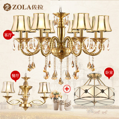 [European copper lamps 3 package] xola american living room full copper chandelier lamp european restaurant lamps bedroom lamps