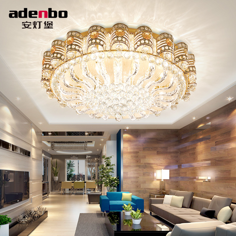 European creative golden round crystal lamp living room lights hall lights atmosphere hotel tune light led ceiling lamps 976