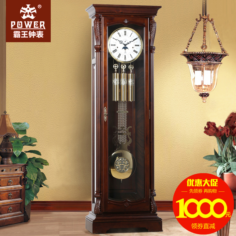 European creative retro wood living room floor clock mechanical clock xanthoxylum german hermle movement li zhong