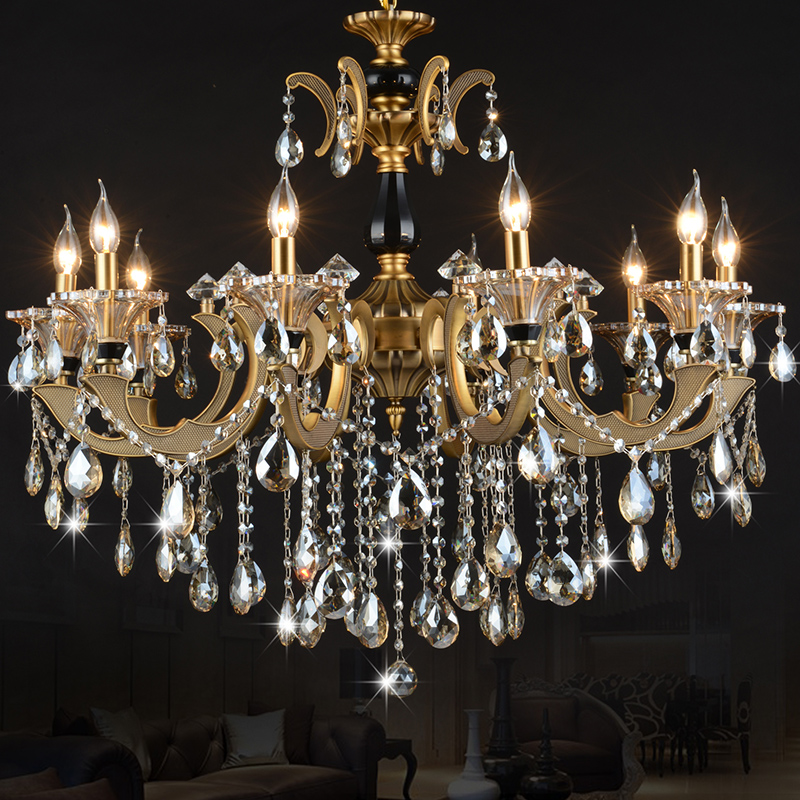 European crystal candle chandelier american chandelier bronze chandelier crystal lamp living room bedroom dining room stairs alloy