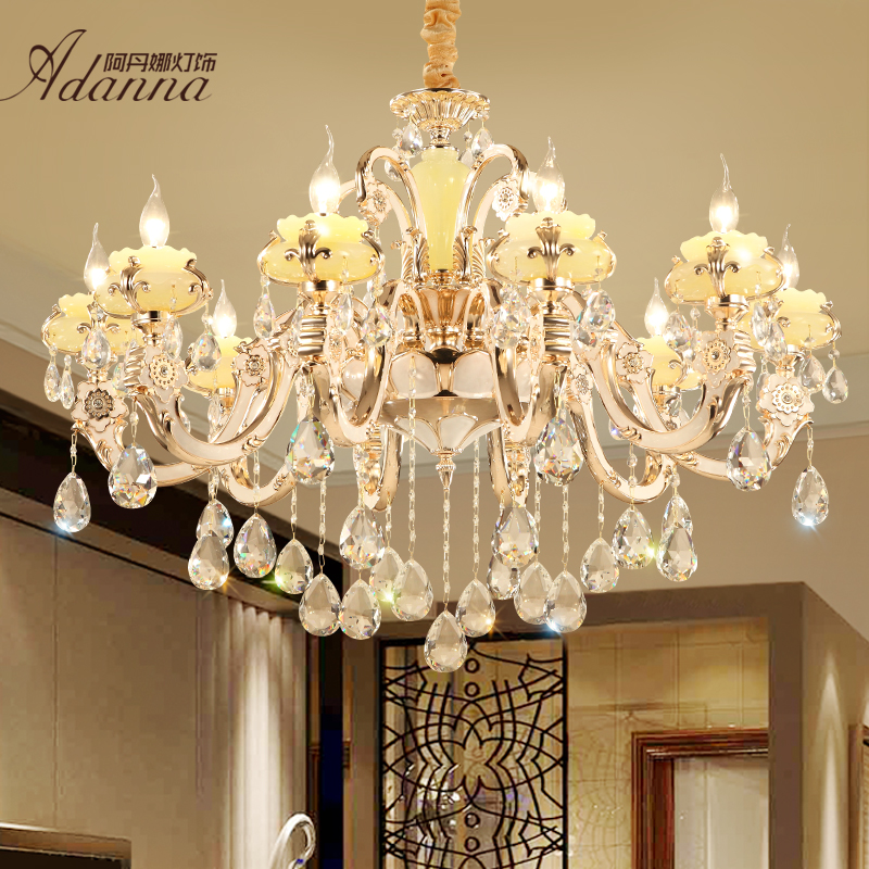 Get Ations European Crystal Chandelier Bedroom Minimalist Zinc Alloy Imitation Jade Candle Light Restaurant Lights Lamps Living Room