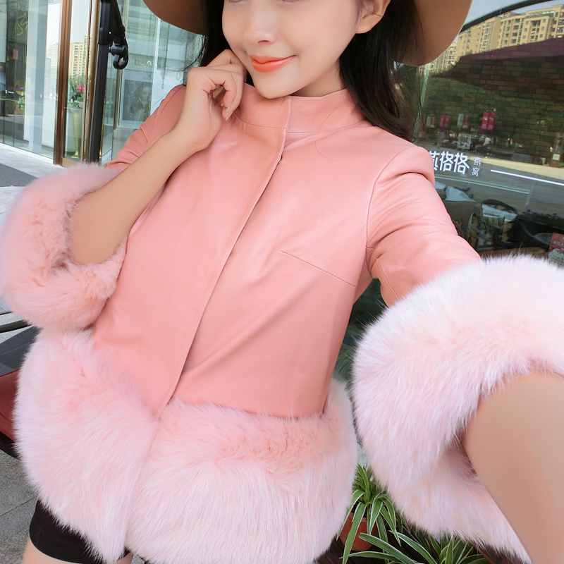 European grand prix 2015 new autumn and winter simulation leather sheepskin fox fur leather women short paragraph korean version of cotton cotton jacket草加