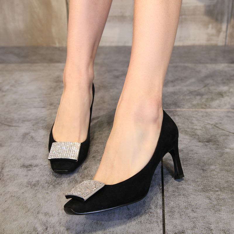 European grand prix 2016 spring new england matte suede fine with high heels shoes rhinestone square buckle square head shoes