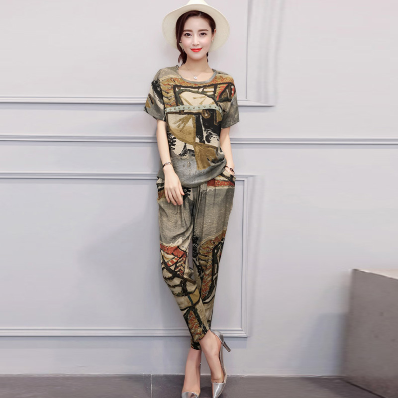 European grand prix 2016 summer influx of european goods suit female fashion printing short sleeve slim was thin pantyhose piece