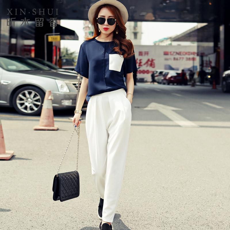 European grand prix 2016 summer wild harem pants suit short sleeve t-shirt harem pants casual small fragrant wind piece female Influx of men