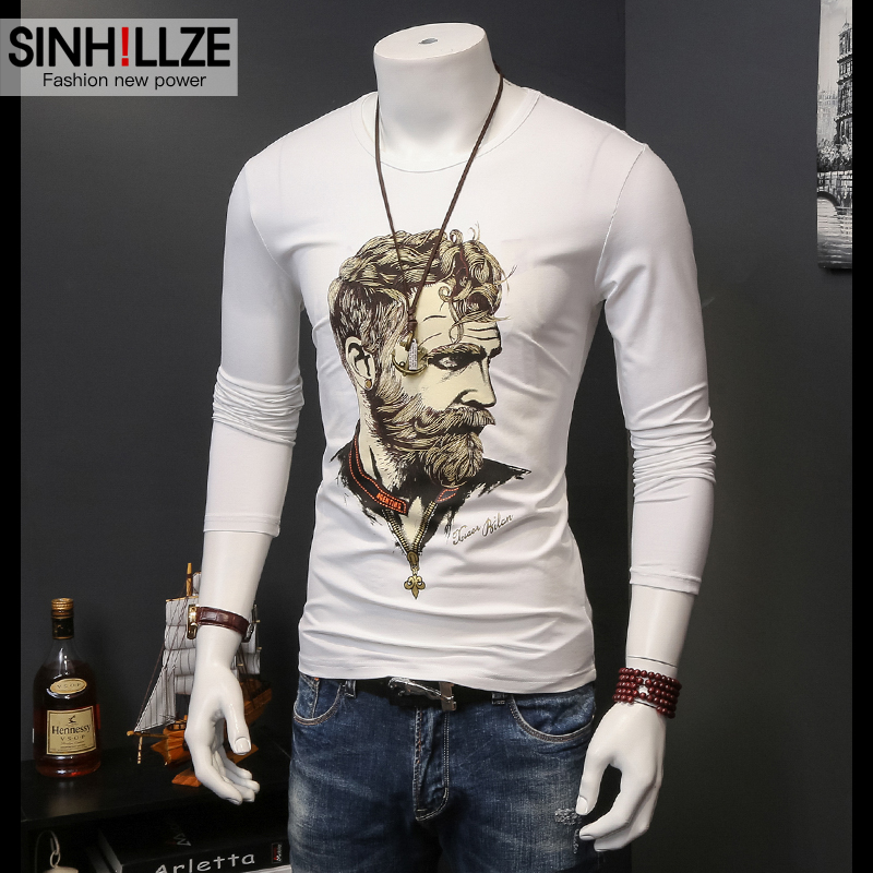 European grand prix modal mercerized cotton long sleeve t-shirt male european and american style personality printing round neck compassionate men's autumn tide