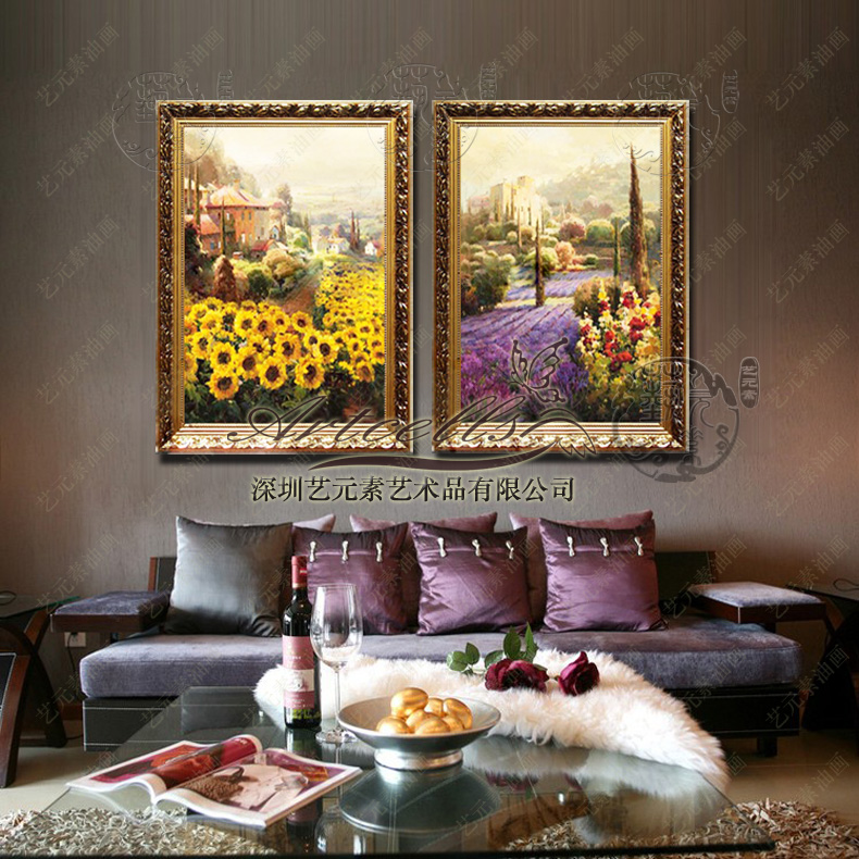 European landscape painting the living room painted american rural countryside restaurant framed decorative painting lavender sunflower field