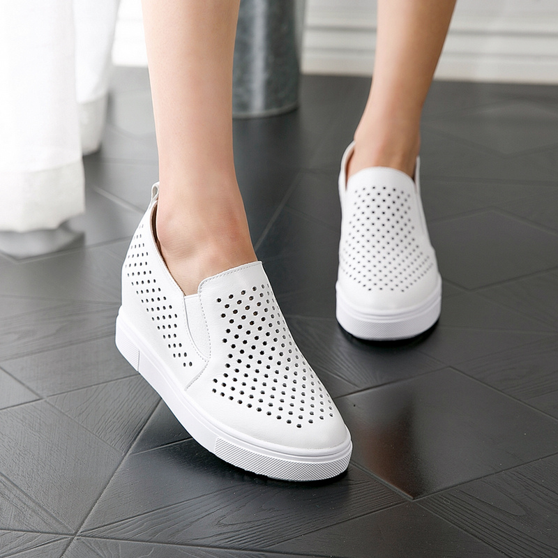 European leg of small leather shoes without laces to wear in summer 2016 summer new female white shoes single shoes influx of european goods Shoes