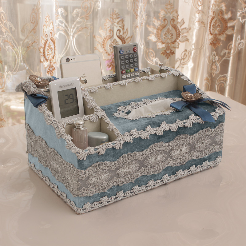 European luxury fabric tissue box tissue box multifunction desktop pumping tray living room coffee table remote control storage box paper drawn box