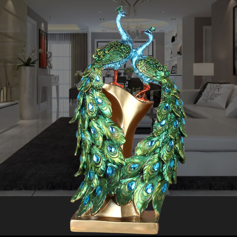 European luxury retro resin craft creative peacock tv cabinet ornaments modern home decorations wedding gifts