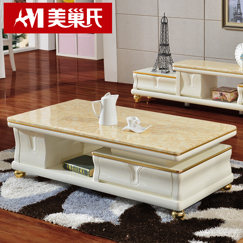 European marble coffee table tv cabinet combination of modern minimalist living room paint glass coffee table tea table white