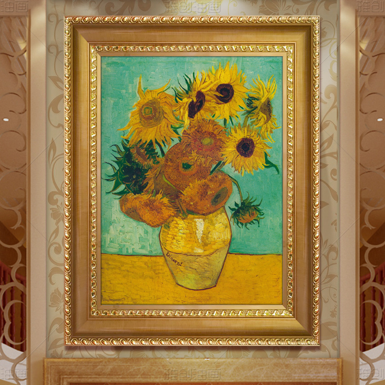 European modern minimalist living room entrance decorative painting vertical version of van gogh sunflower painting pure hand painted mural