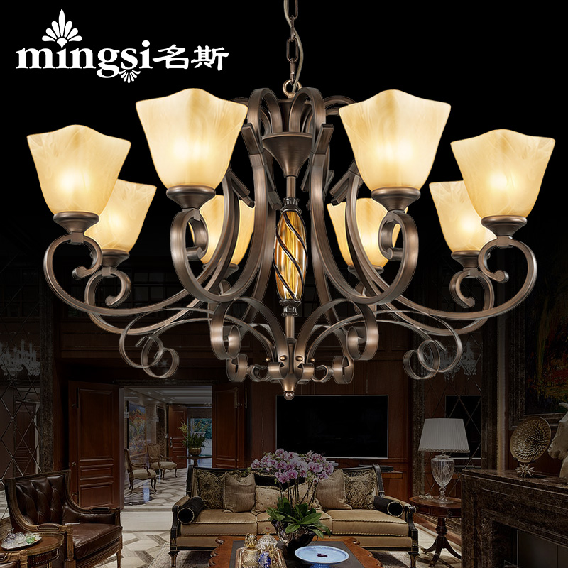 European pastoral living room chandelier nordic creative retro american country wrought iron restaurant lighting led lamps bedroom