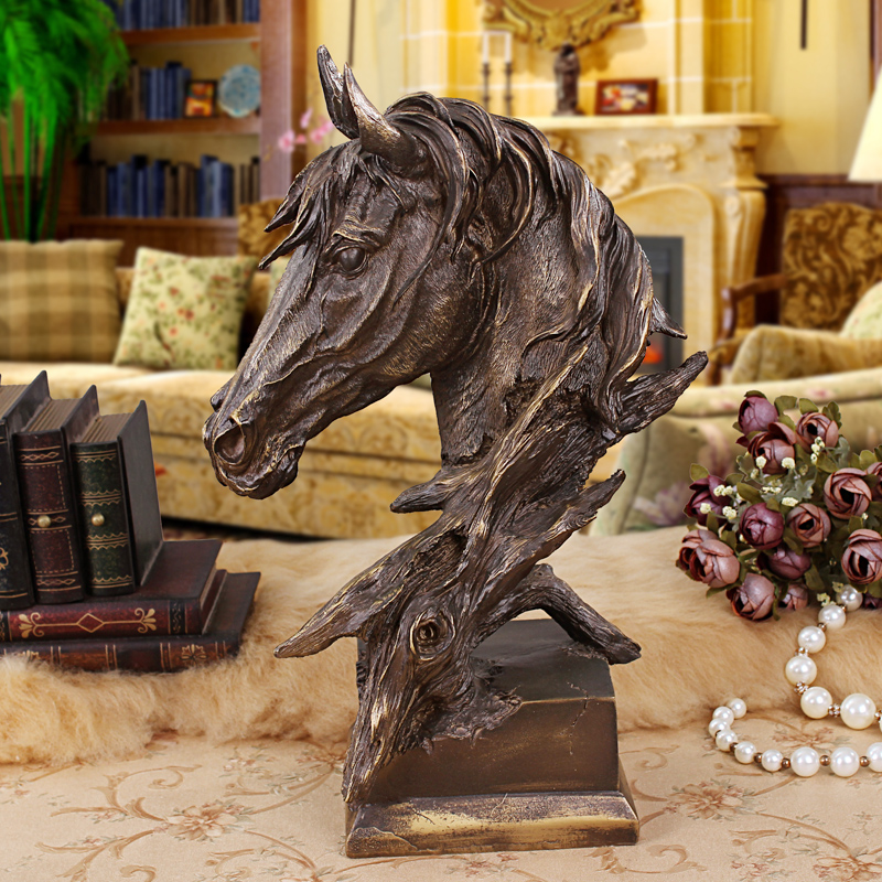 European retro nostalgia creative horsehead resin crafts ornaments home living room office room decorations study