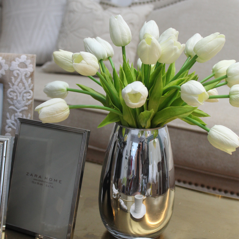 European romantic single branch artificial flowers mini white tulip flowers placed flowers/model room modern designer