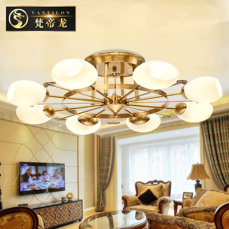 European round led ceiling cozy living room lamp bedroom lamp all copper ceiling ceiling ceiling american country pastoral atmosphere