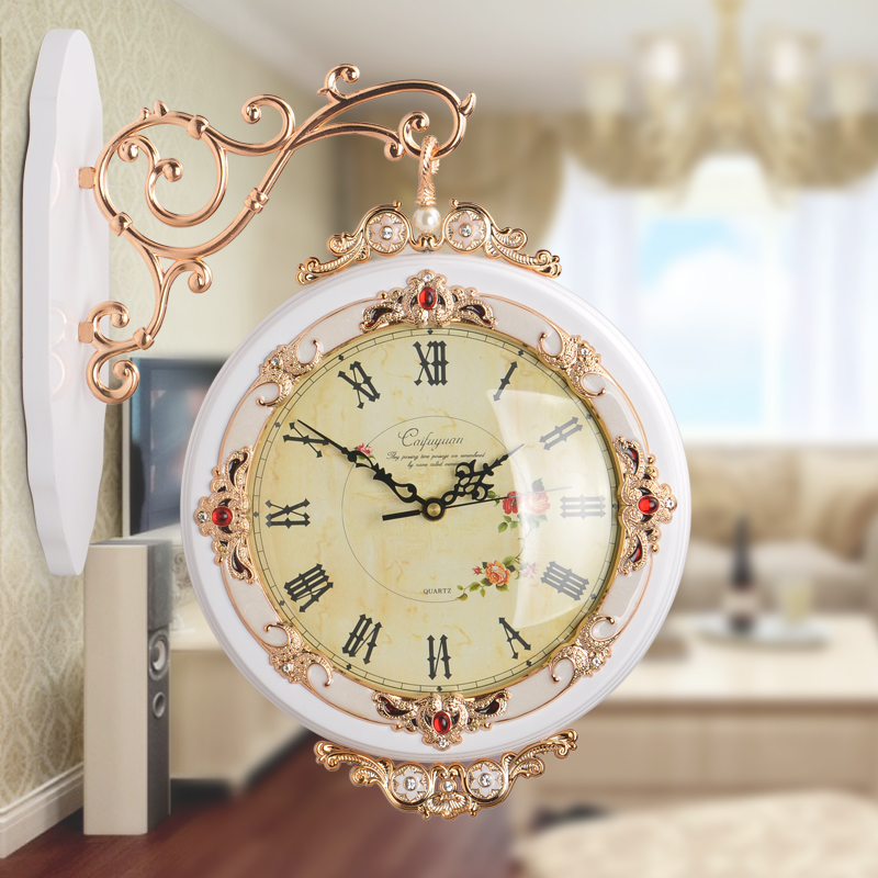 European sided wall clock large living room mute quartz wall clock creative pastoral personality retro minimalist style