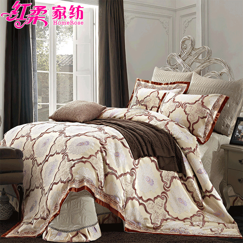 European soft red soft textile satin jacquard bedding a family of four sets of three-dimensional decorative thick quilted bed cover kit