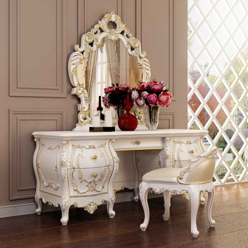European solid wood dresser dresser combination of french luxury upscale suite bedroom furniture dressing table mirror makeup makeup stool
