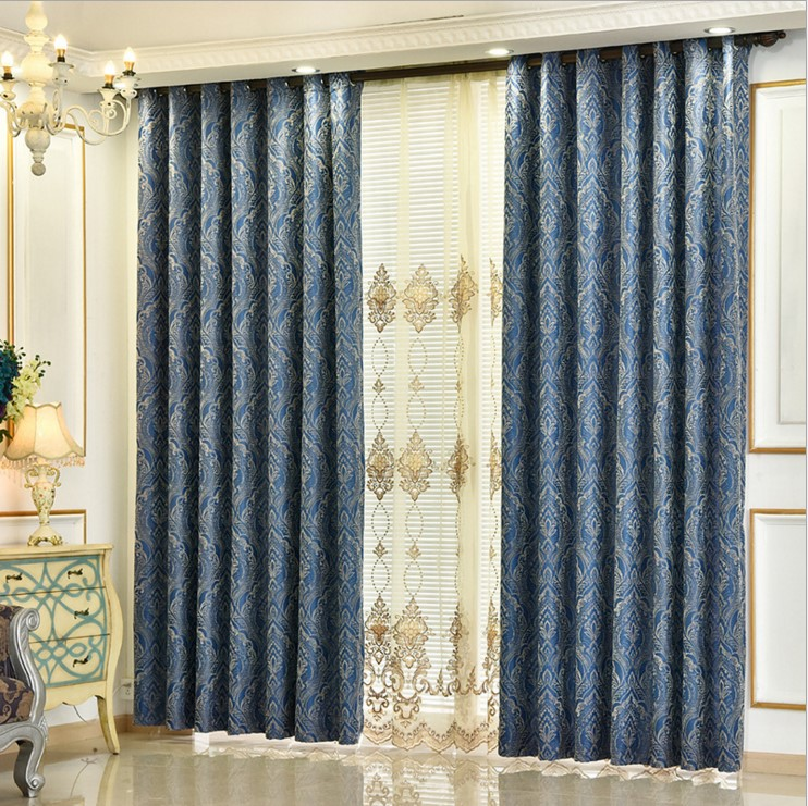 European style jacquard soft warm blackout fabric living room curtains curtain screens bedroom curtains custom home