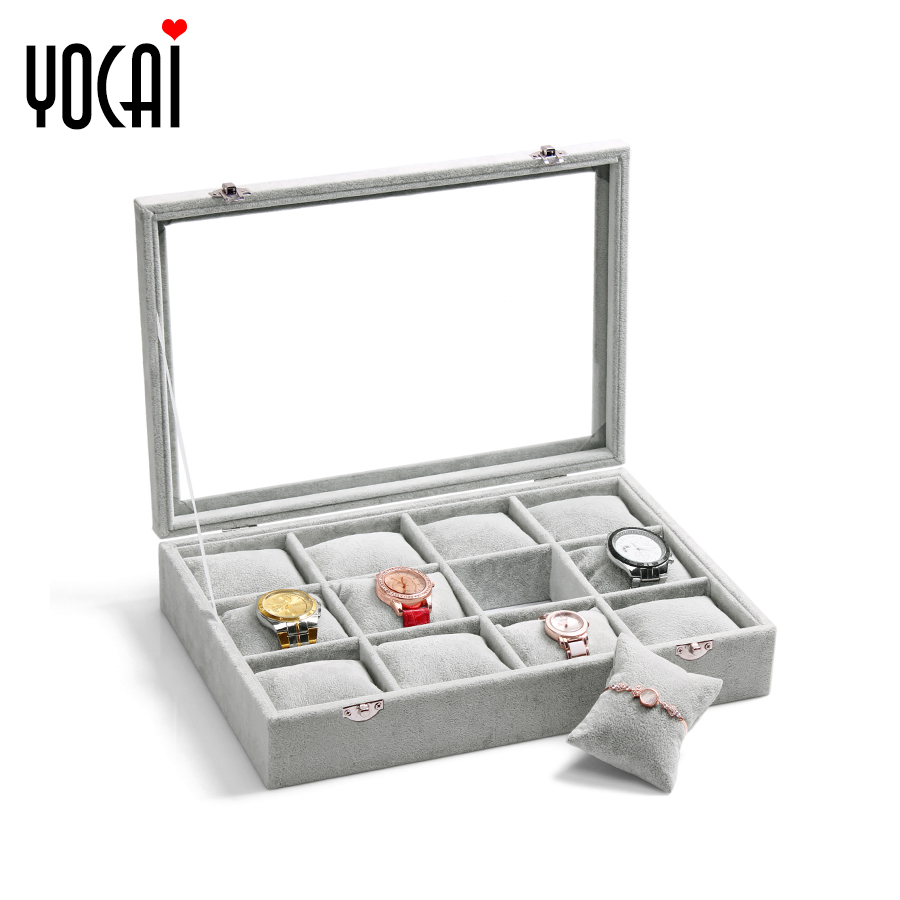 Excellent color quality gray velvet 12 watch storage box bracelet display box with lid beads chest jewelry box display box