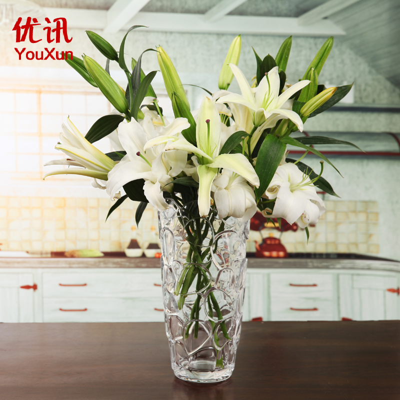 Excellent news european glass vase transparent glass vase home decorations ornaments lucky bamboo lily vase